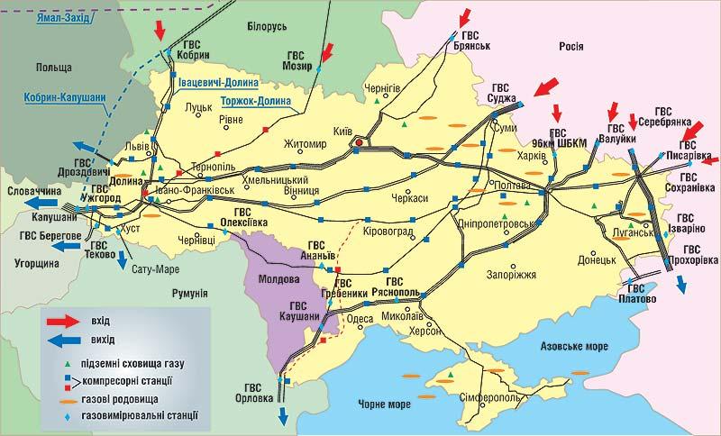 """Карта """"ГТС Украины"""" >>>"""
